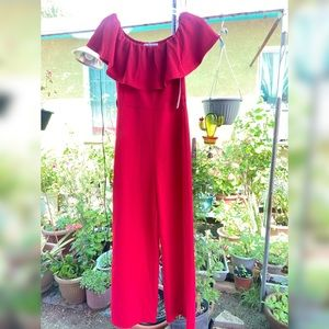 Almost Famous Other - Red Off the Shoulder jumpsuit size Medium